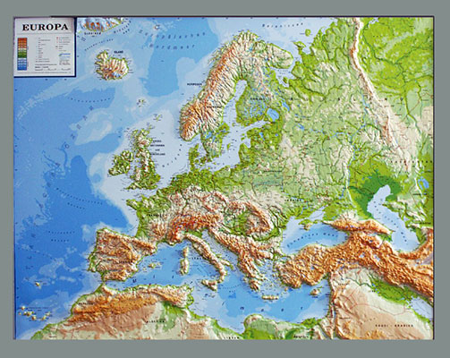Relief map europe world map withelevation profile physical relief map of europe silver line gumiabroncs Choice Image